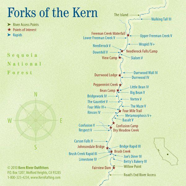 White Water Rafting California Map.Map Of North Kern River Lake Isabella Kern River Kernville In