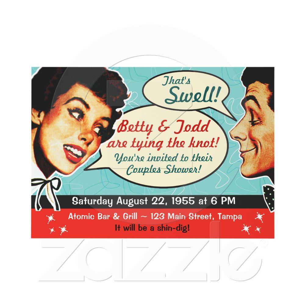 Vintage 1960s Bridal Shower Invitations Vintage Bride 60s Wedding Mid Century Invitations Vintage Party Invitations