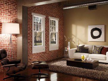 Red Brick Interior Walls With White Window Trim Houzz Home