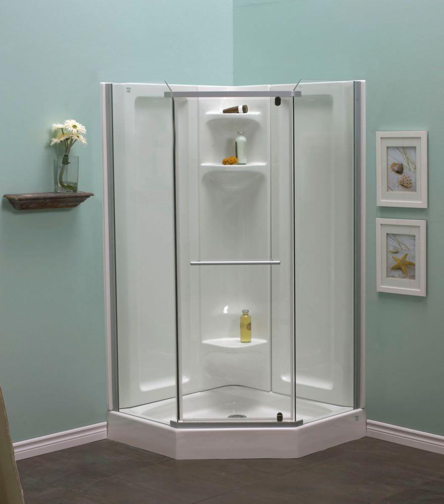 Sorrento 42 Inch Acrylic Frameless Neo-Angle Shower Package ...
