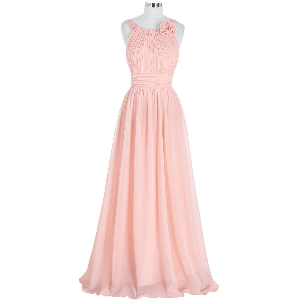 2016 Custom Charming Pink Chiffon Bridesmaid Dress,Sexy Halter ...