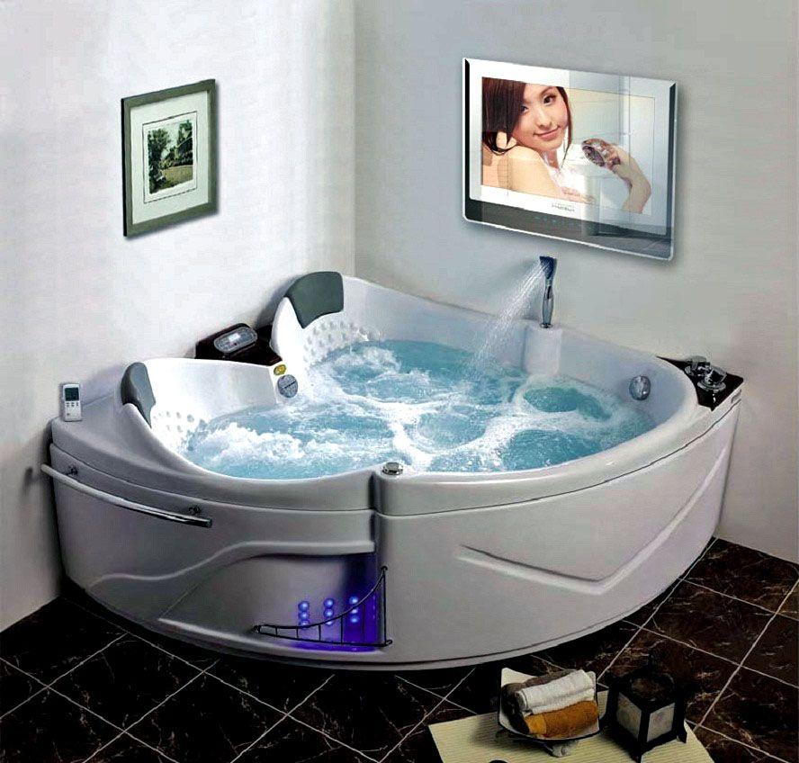 Jacuzzi Room With Led Tv Corner Tub Master Bathroom Design Luxury Master Bathrooms