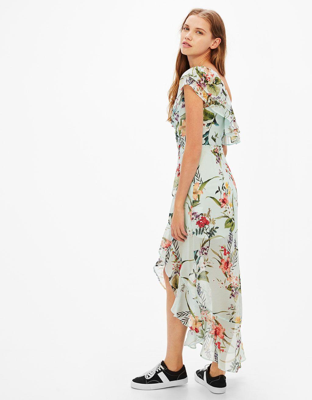 be3211ea7945 Vestido largo asimétrico estampado flores volante | Vestiditos ...