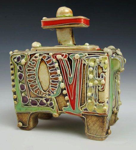 Carol Long Love Me Babie Tiny Box Slab Pottery Pottery Sculpture Ceramic Clay