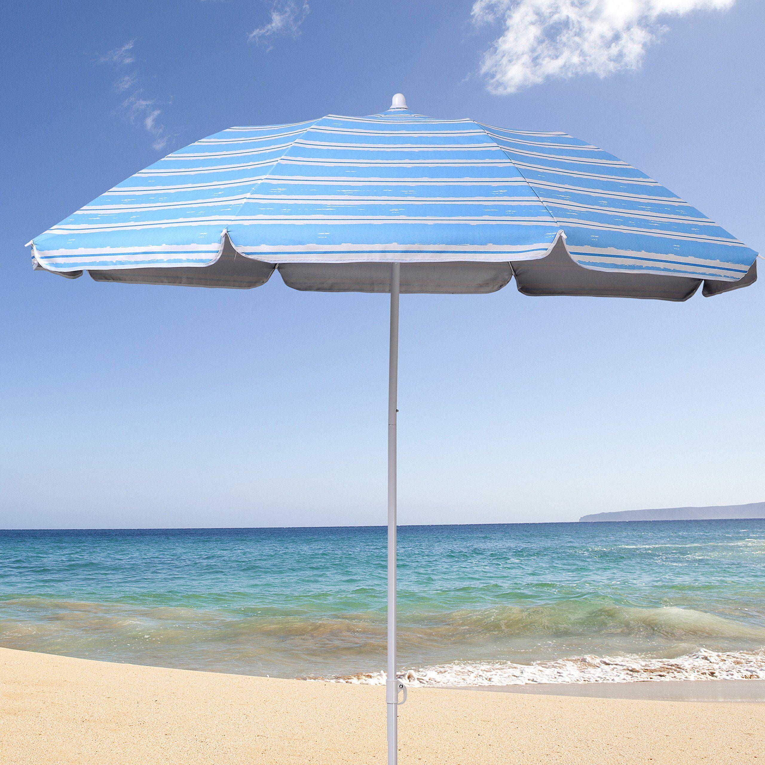 Ammsun 2017 6ft Folded Beach Umbrella With Tilt Portable Cabana Silver Coating Inside Uv Protection Stripe Blue