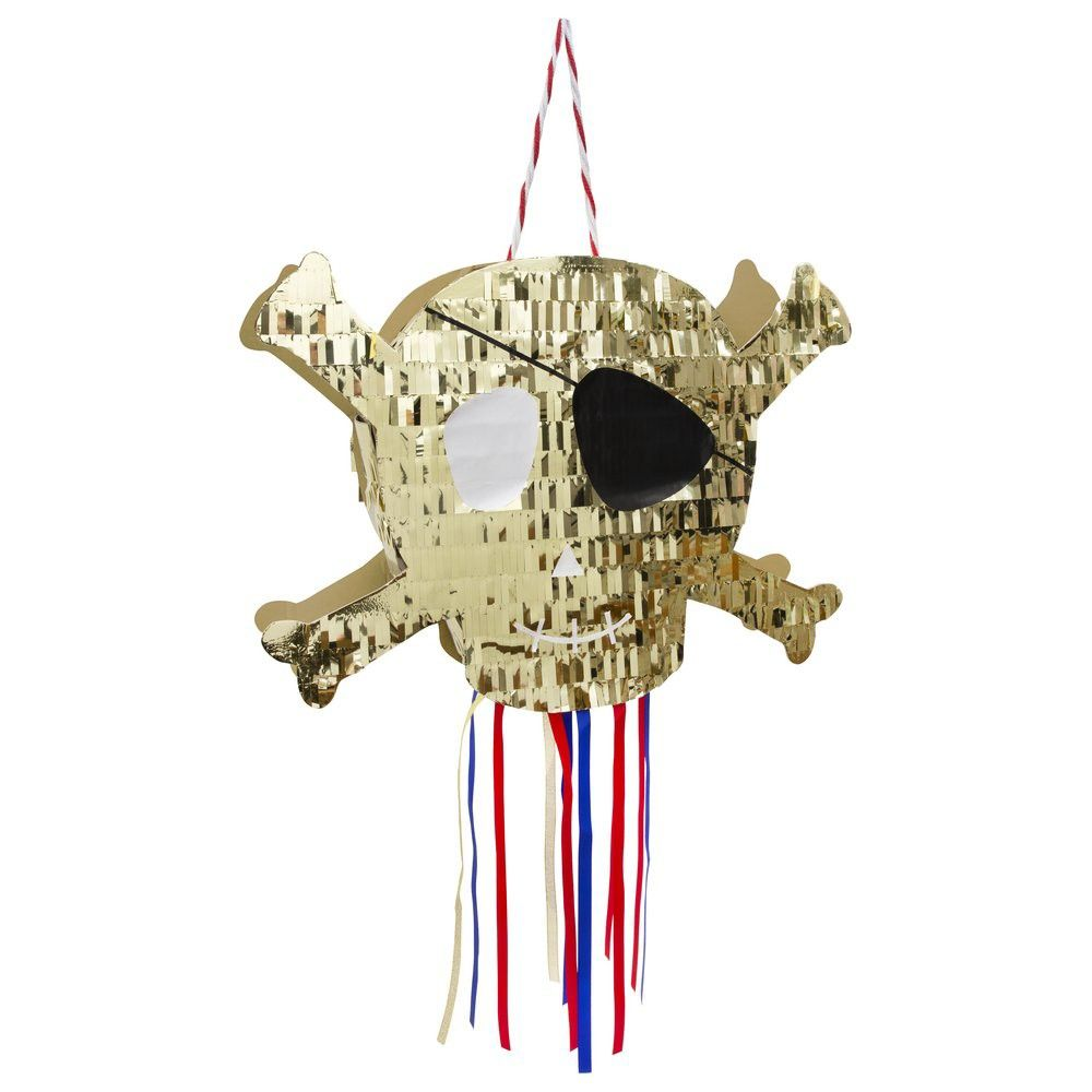 Meri Meri Pi/ñata Totenkopf in Gold f/ür die Piratenparty Mottoparty Piraten