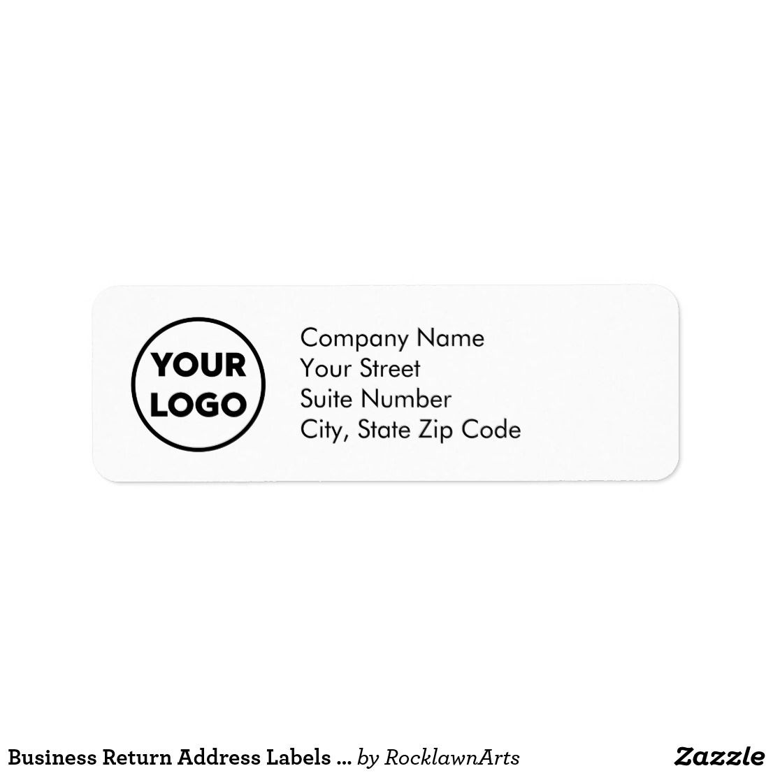 Business Return Address Labels With Company Logo Zazzle Com Return Address Labels Address Labels Word Template