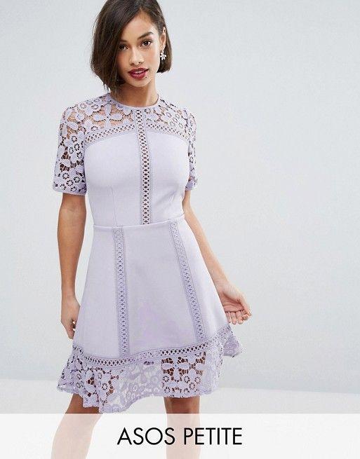 Платье мини с кружевной вставкой ASOS PETITE Premium at asos.com