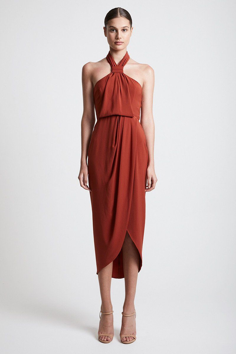 af144e5193e376 Core Knot Draped Dress | Rust | Cocktail Dresses | Shona Joy | I ...