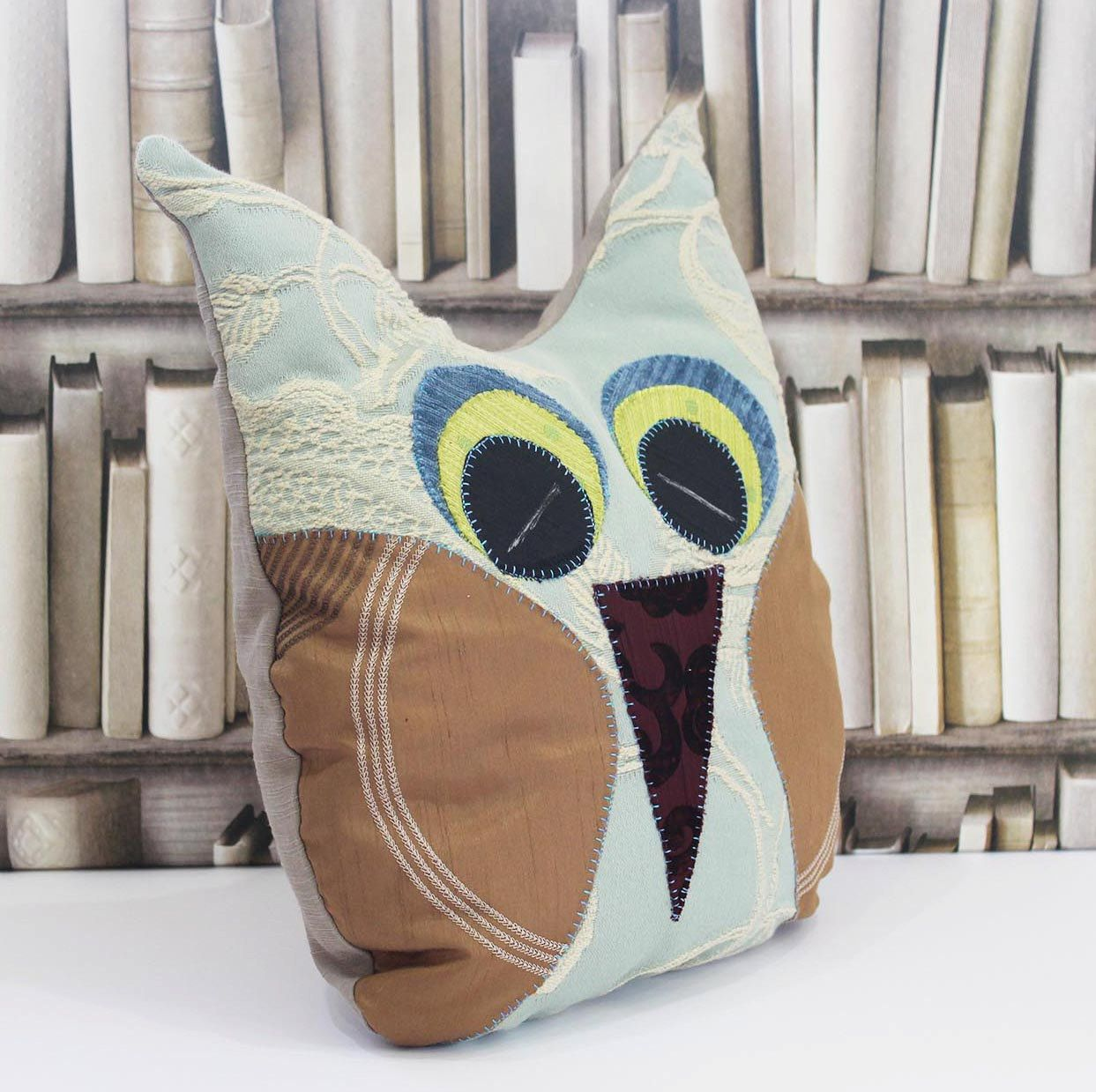 Owl cushion pillow, owl ornament, fabric owl cushion pillow, handmade owl cushions, keepsake owl, pale blue beige and black owl by RosieFreckles on Etsy