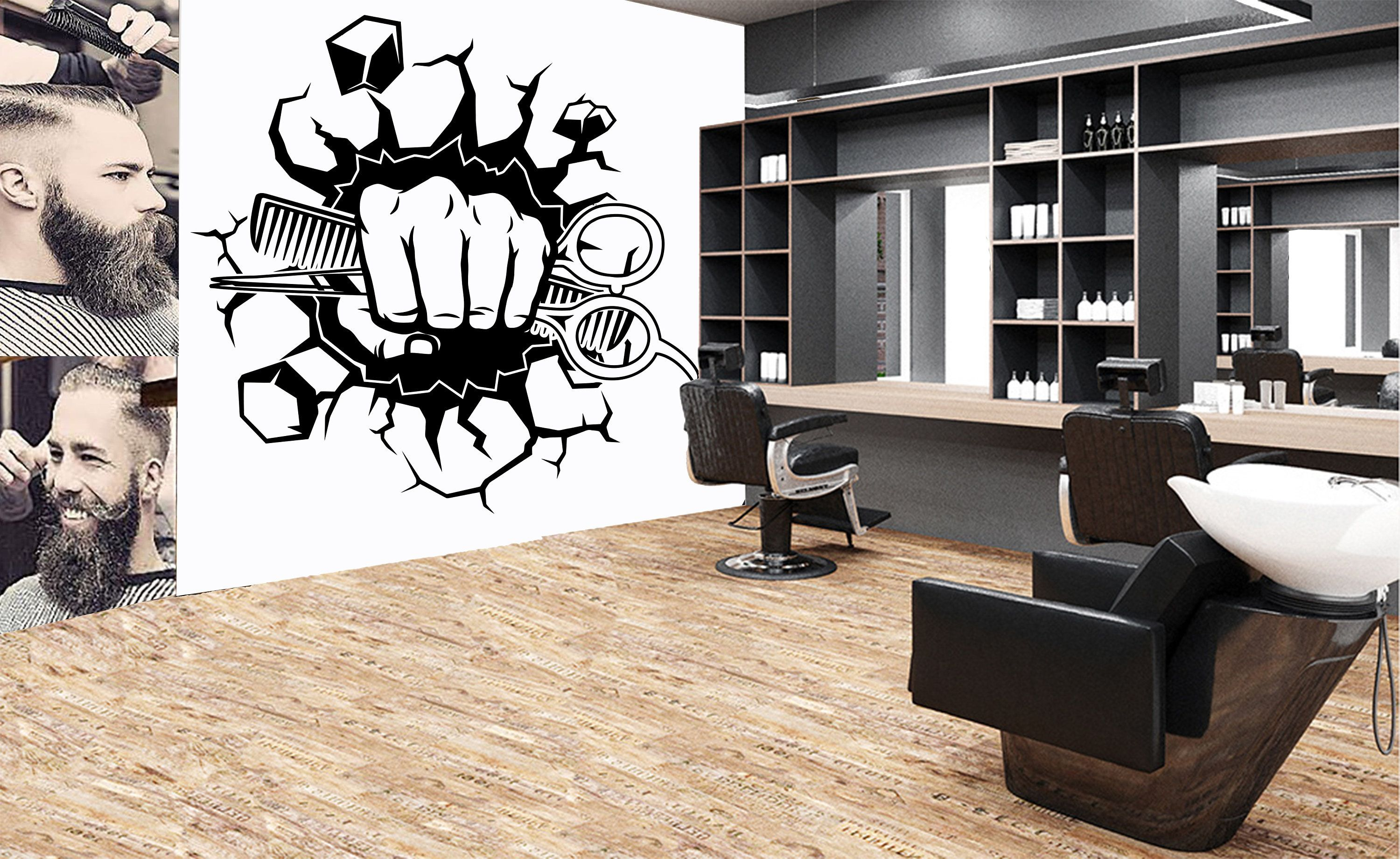 Barber Wall Decal Custom Barber Shop Wall Decor Man Salon Etsy Barber Shop Decor Shop Wall Decor Barber Shop