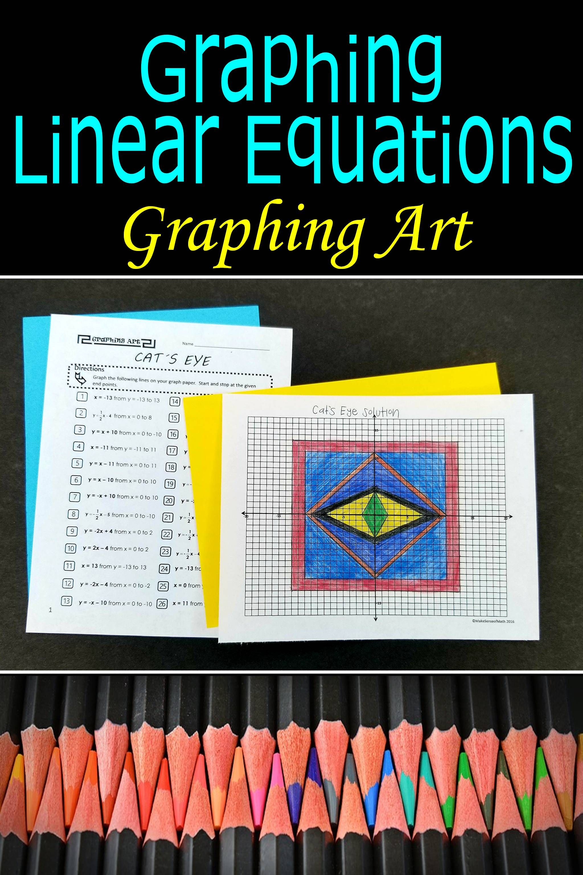 Graphing Linear Equations Activity Graphing Art Cat S Eye