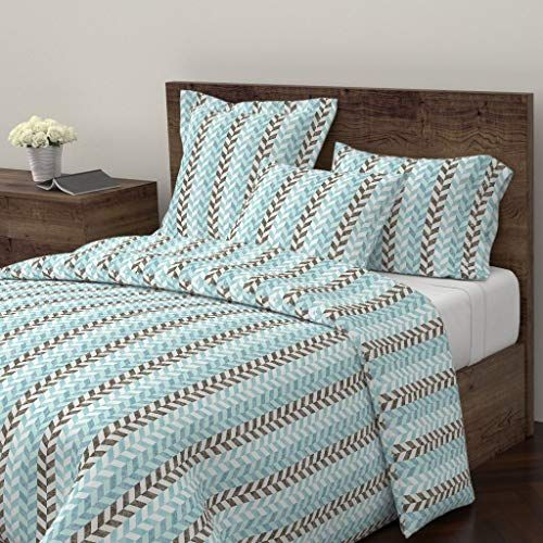 Roostery Geometric Shapes Duvet Cover Braids Stripes Indian River