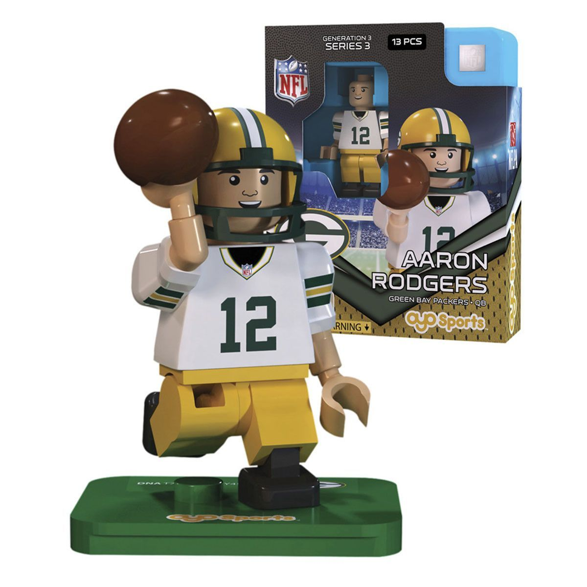 Nfl Green Bay Packers Aaron Rodgers G3s3 Oyo Mini Figure Oyo Nfl Detroit Lions