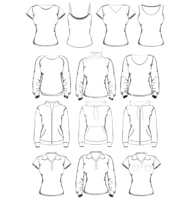 Collection Of Women Clothes Outline Templates Vector   By