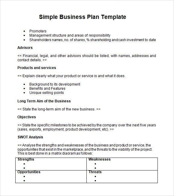 Simple Business Plan template Pinterest Simple business plan - business plans template