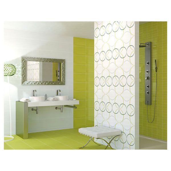 Carrelage salle de bain : Une décoration de salle de bain verte ...