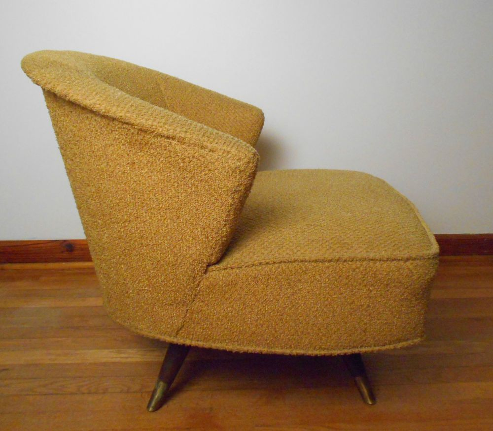 50's Vintage Mid Century ATOMIC Swivel Barrel Back Lounge ...