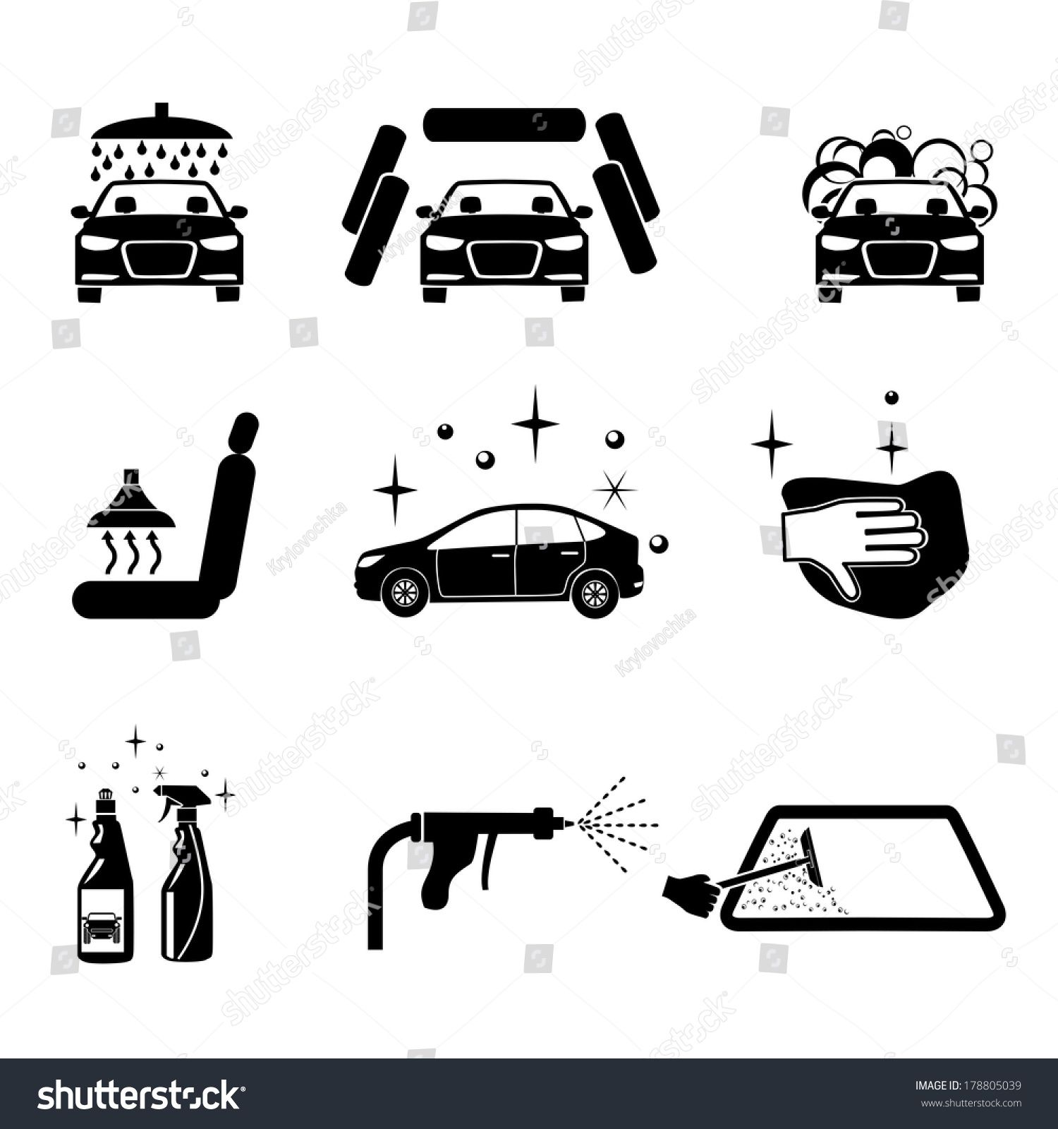 Car Wash Four Variants Car Wash Stock Vector (Royalty Free