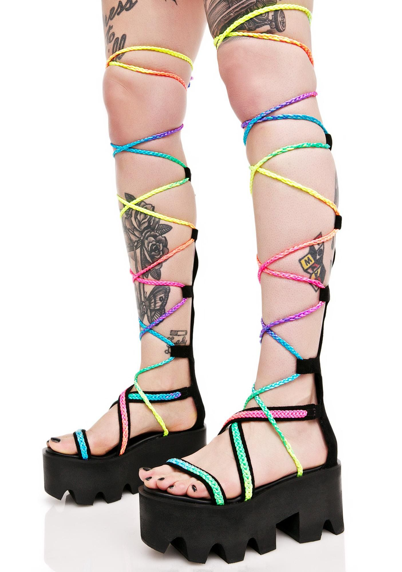 Endless Summer Platforms | Festival shoes, Rainbow laces