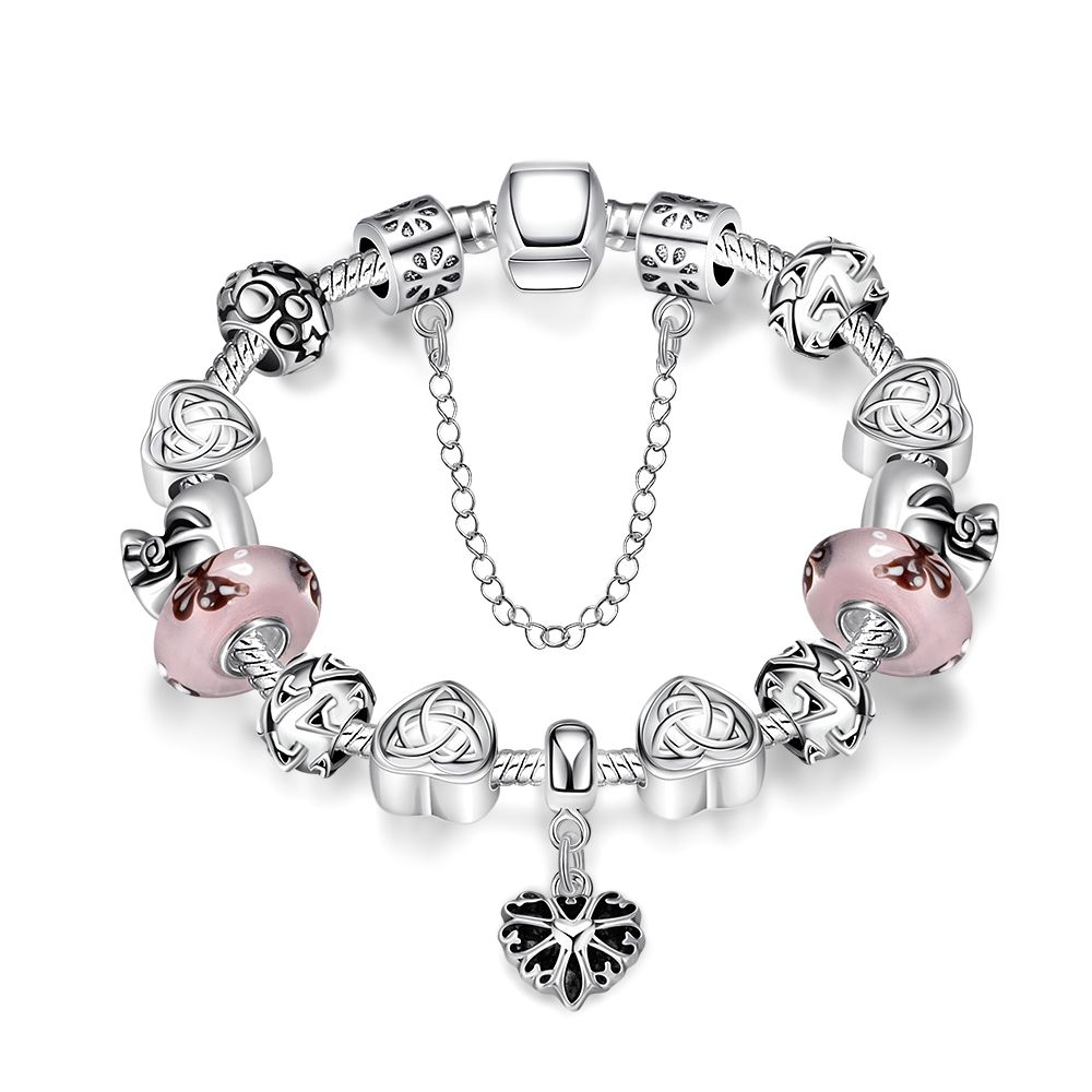Woman diy strand pink beads heart shape silver plated chain