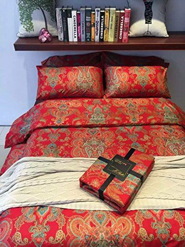 TheFit Paisley Textile Bedding for Adult U387 Red Gold Boho Bohemian Duvet Cover Set 100% Egyptian Cotton, Queen King Set, 4 Pieces (King) TheFit http://www.amazon.com/dp/B01CL8B8PY/ref=cm_sw_r_pi_dp_04.-wb09HANR4