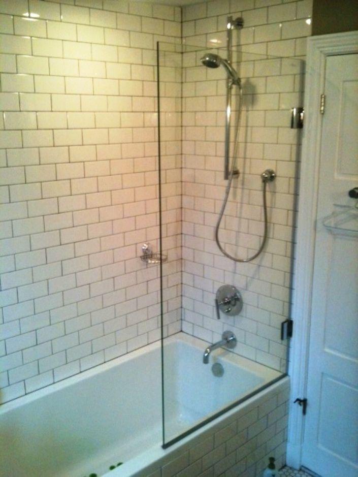 acrylic panels for bathroom walls%0A Swinging bathtub shower shield  model     SHS  Frameless      high Square  glass