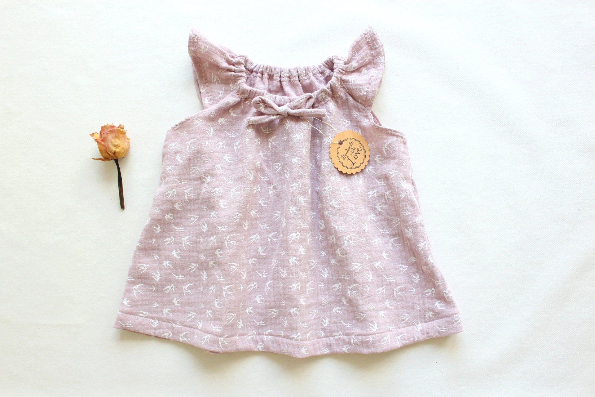 Baby Dress Dusty Rose Crochet Dress Baby Dress Kleid Altrosa Kleidchen Babykleidung