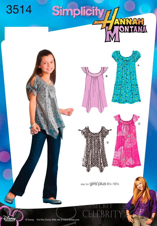 Girl Dress, Minidress, Hannah Montana Sewing Pattern 3514 Simplicity ...