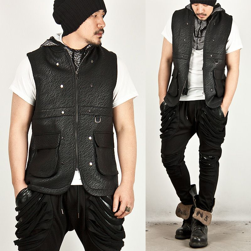 Outerwear - MASCULINE BLACK NEOPRENE ZIP-UP SLIM VEST - 43 for only 69.00 !!!