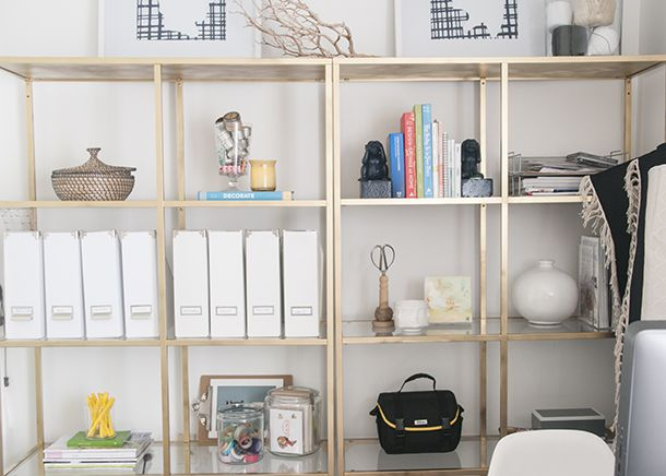 Office Shelving - Ikea Painted Gold Shelves