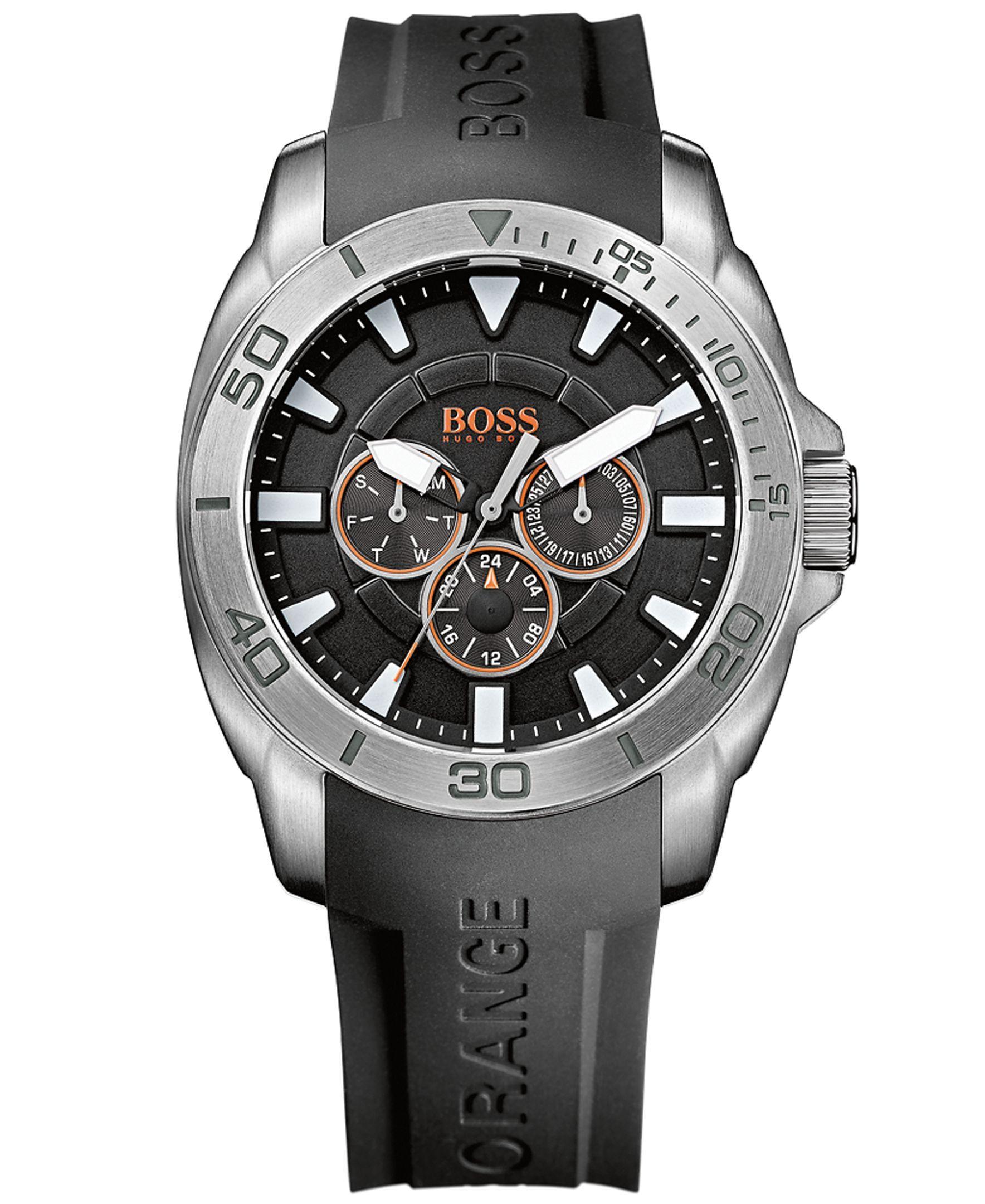 5411a72aa Hugo Boss Men's Boss Orange Black Silicone Strap Watch 45mm 512950 ...