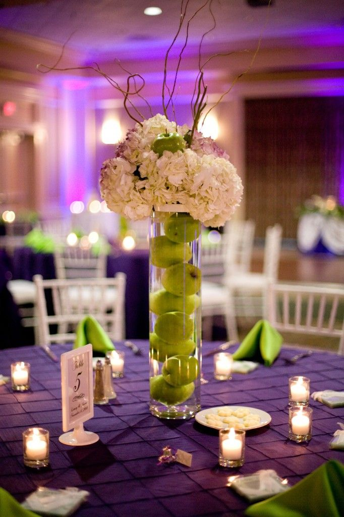 Purple And Green Wedding Centerpieces