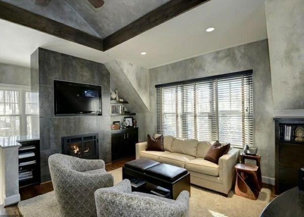 graues Interieur mit Ledersofa und Armsessel Wohnideen - kleines schlafzimmer fensterfront