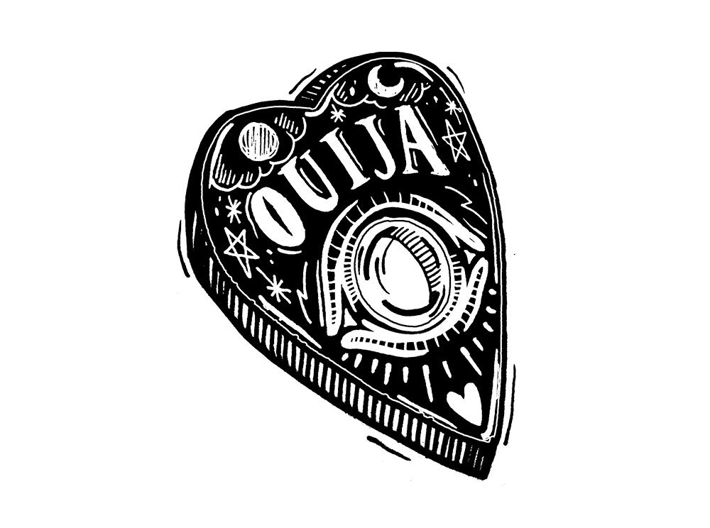 It is a graphic of Invaluable Ouija Board Drawing
