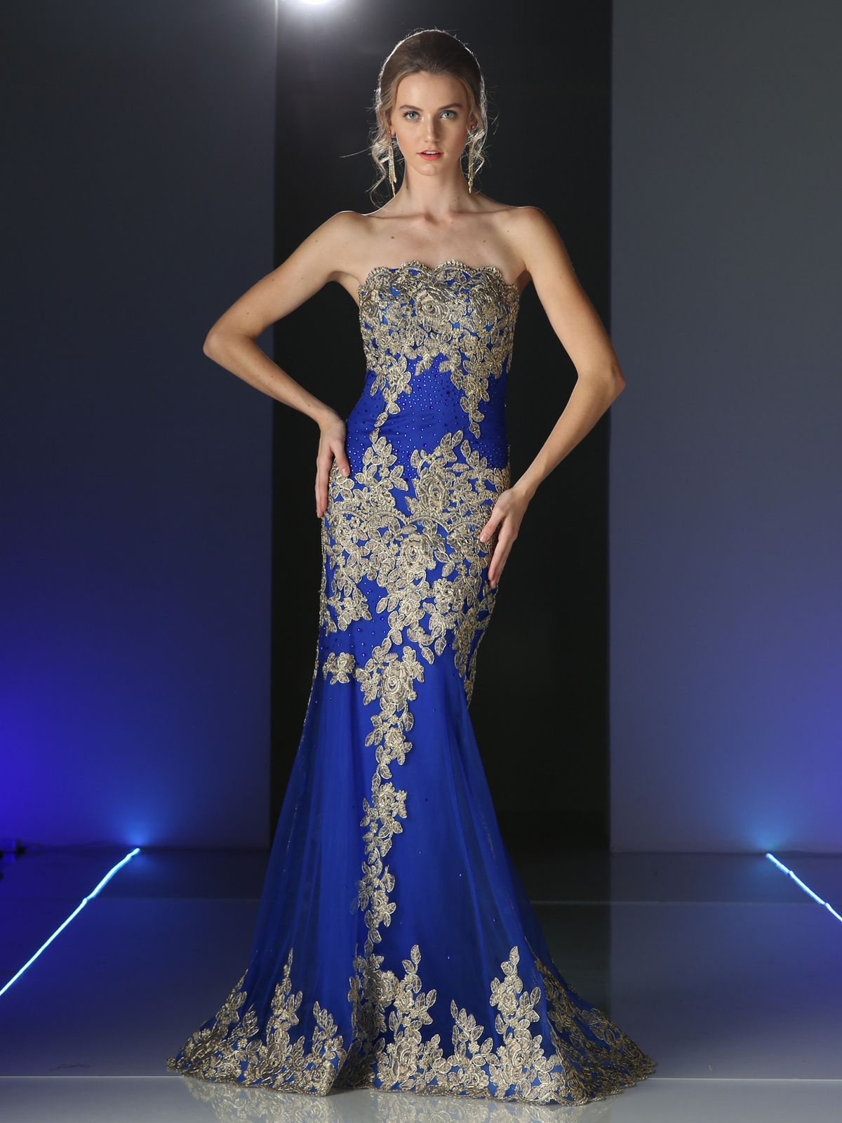 Cd strapless long evening dress with golden applique royal