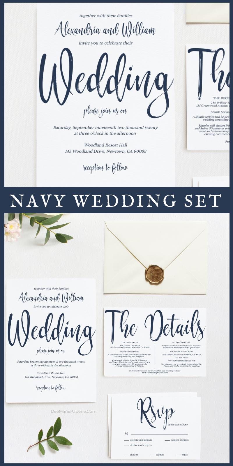 Navy Wedding Invitation Template Set, 100 Editable