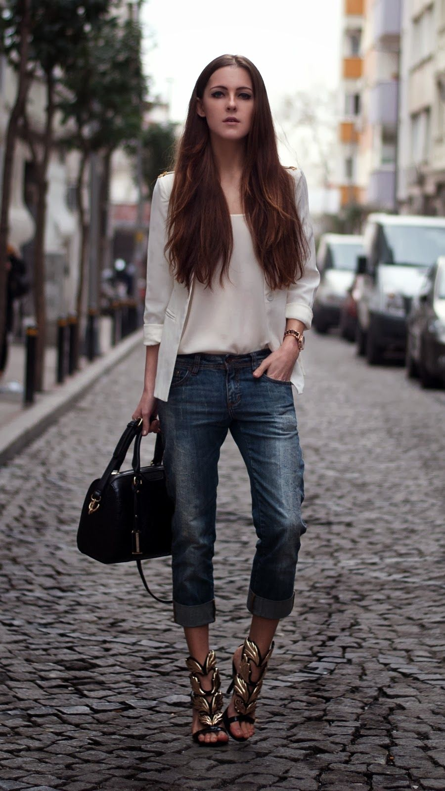 #metallic sandals #high heel #jeans #street style