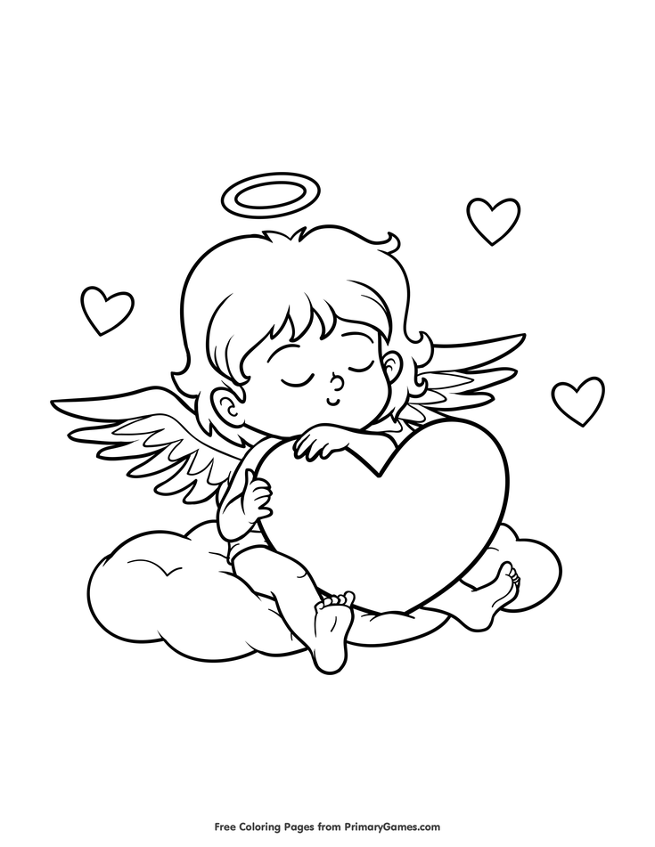 Valentine S Day Coloring Pages Ebook Sleeping Cupid