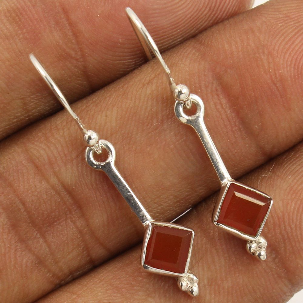 Orange Goldstone Earrings Drop 925 Sterling Silver Handmade