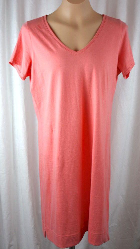 Pure Jill Womens 100% Cotton Short Sleeve Coral T Shirt Dress Size ...