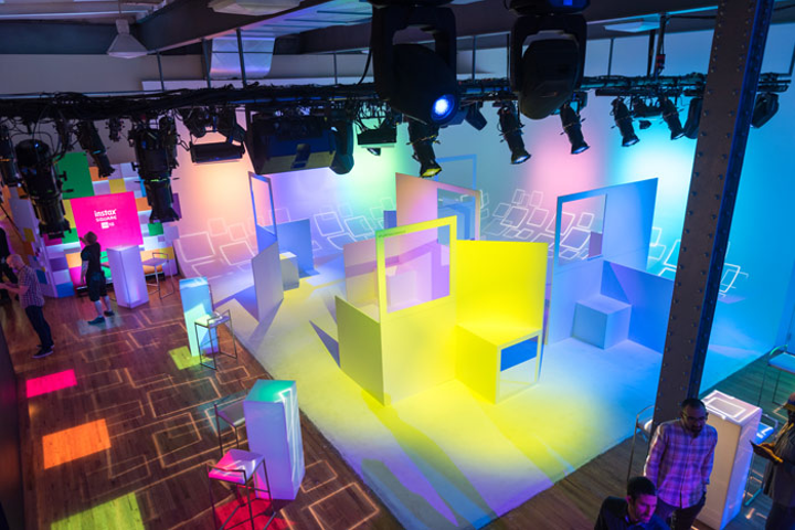 """The ground floor of the event space featured square cut-out frames for photo ops. """"Fujifilm came to us as their experiential activation partner because they wanted to take a leap out of the box into direct-to-consumer marketing. The only creative guideline was that the highlight of the experience was square,"""" Kayne said."""