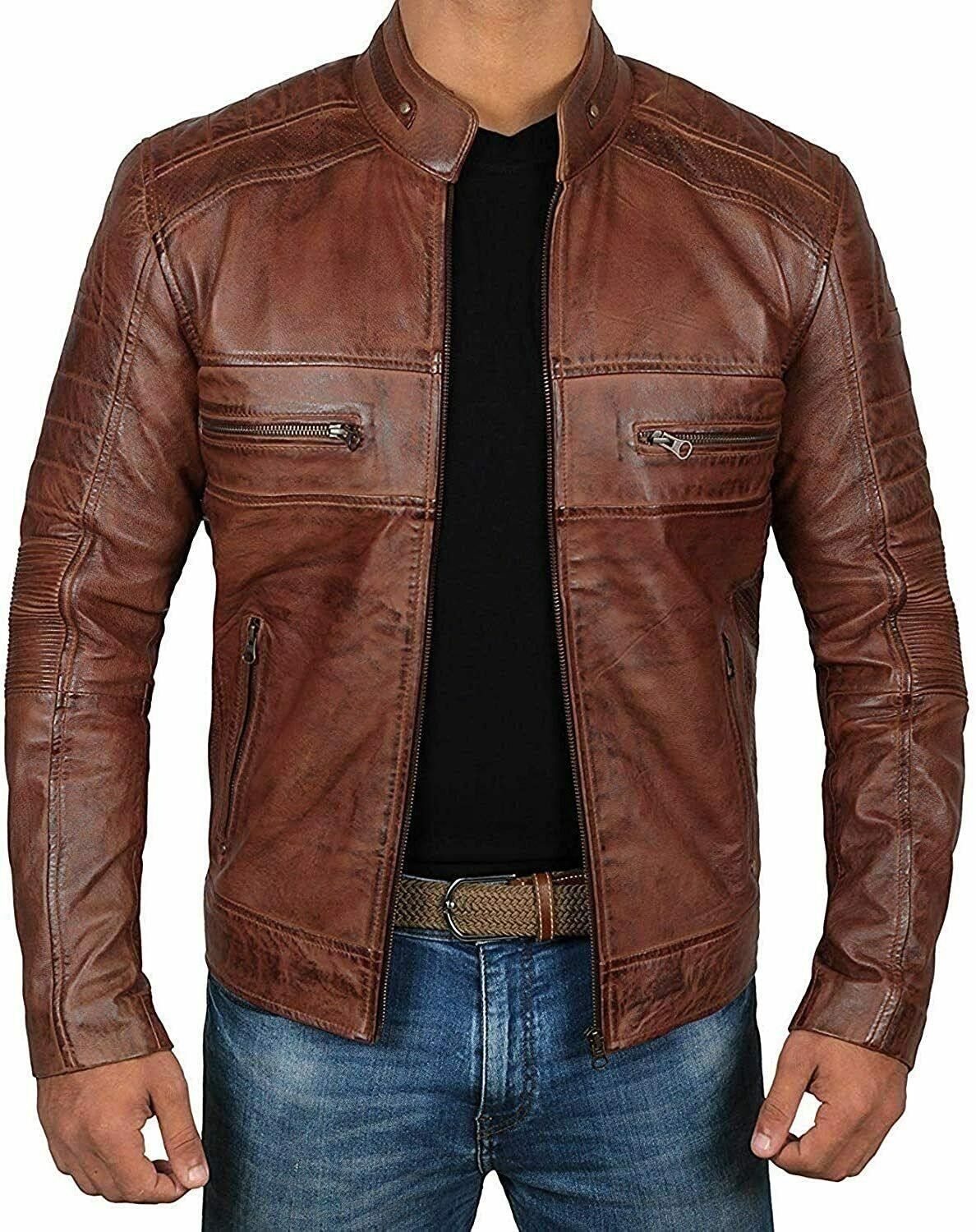 New Men/'s Slim Jacket Casual Motor Jacket Coat Outerwear Motorcycle Tops Quality