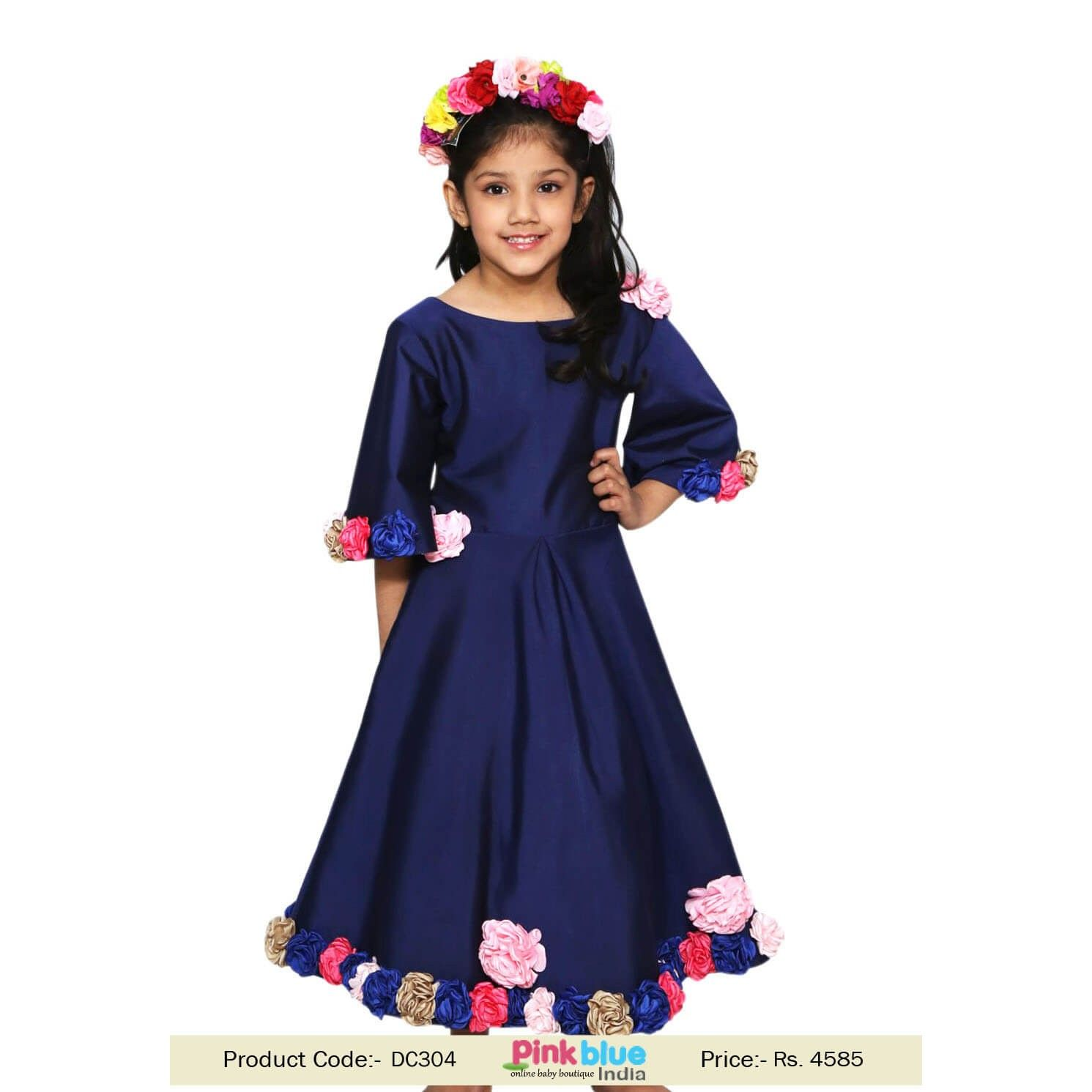 35fdd1f37ae0 Blue Girls Party Wear Gown | Kids Gown For Birthday Functions | Custom Made  Princess Long