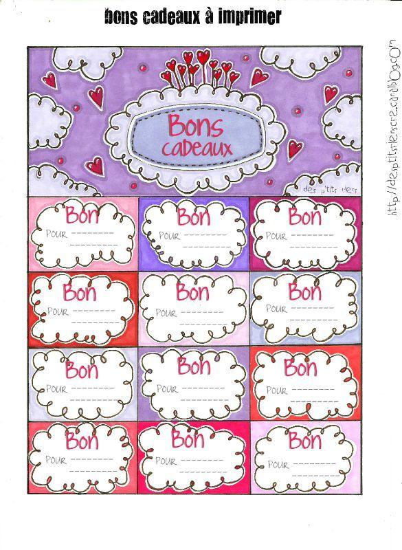 Bons Cadeaux à Remplir Saint Valentin Bon Cadeau Carte