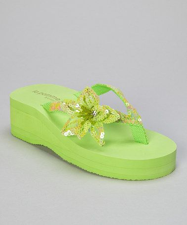 7d3dfb978 Take a look at this Key Lime Sequin Hibiscus Wedge Flip-Flop by la pomme