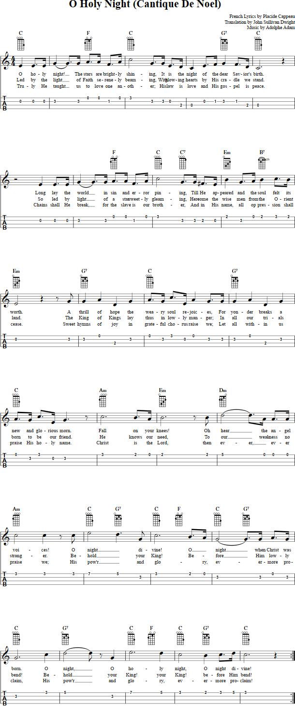 O Holy Night Ukulele Sheet Music | Christmas ukulele songs