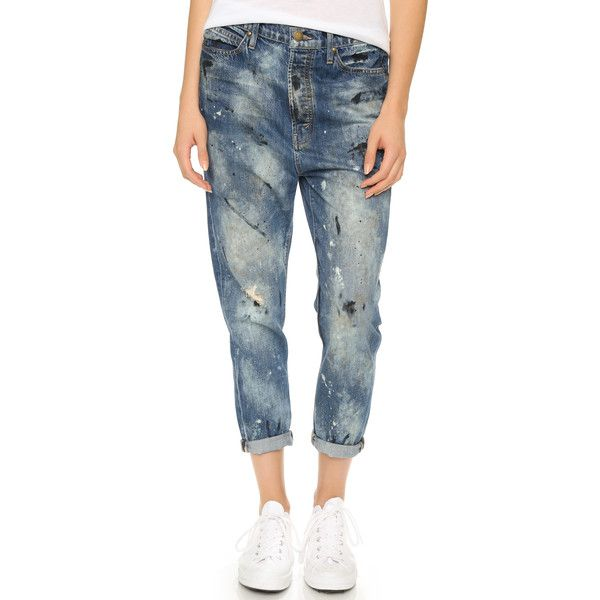 THE GREAT. The Mister Slouchy Boyfriend Jeans (5 255 ZAR) ❤ liked on Polyvore featuring jeans, worn paint wash, bleached blue jeans, relaxed fit jeans, slouchy boyfriend jeans, light weight jeans and slouchy jeans