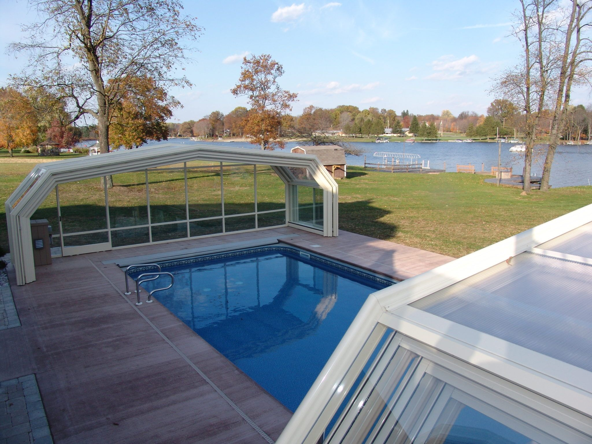 Pennsylvania Pool Enclosure Manufactured By Roll A Cover Pool Enclosures Pool Outdoor Pool