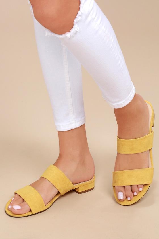 917f7464267 Devin Mustard Suede Slide Sandals 6